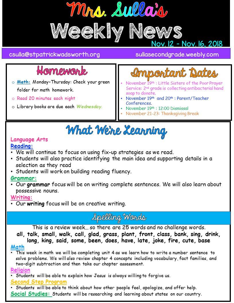 Mrs Sullas Second Grade Stars Newsletter